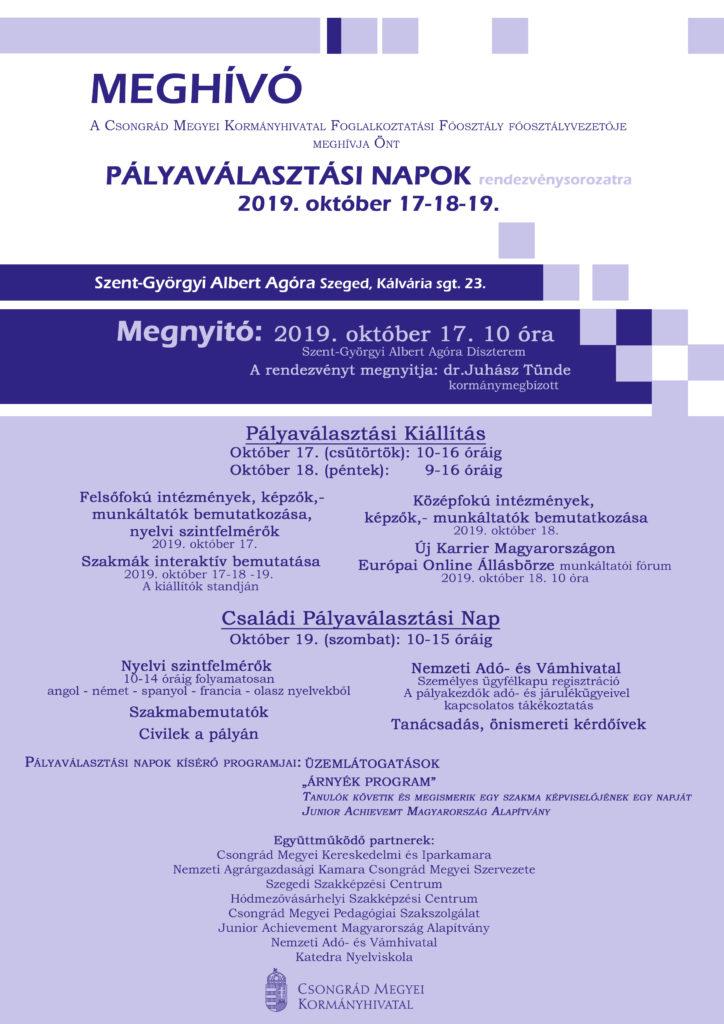 Pályaválasztási Napok 2019 @ Szent Györgyi Albert Agóra Díszterem | Szeged | Magyarország